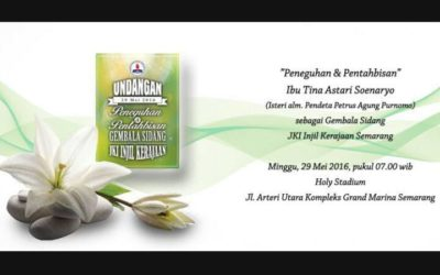 Selamat kepada ibu Tina Astari yang akan diteguhkan oleh Tuhan menjadi Gembala Sidang JKI Injil Kerajaan Semarang