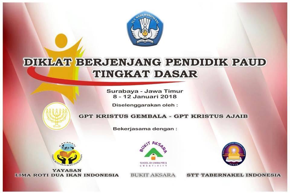 Diklat Berjenjang Pendidik PAUD Tingkat Dasar di Surabaya 8-12 Januari 2018