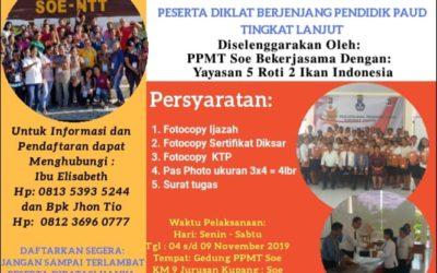 Pendaftaran Diklat Berjenjang Pendidik PAUD SOE NTT
